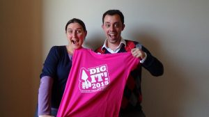 Cat Rothwell and project manager Dr Jeff Sanders - hear aboot Dig-It 2015