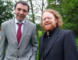 Celebratin the waddin o oor SLR freens Mairi McFayden and Simon Baker at Traquair Hoose