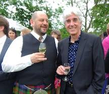 Celebratin the waddin o oor SLR freens Mairi McFayden and Simon Baker at Traquair Hoose