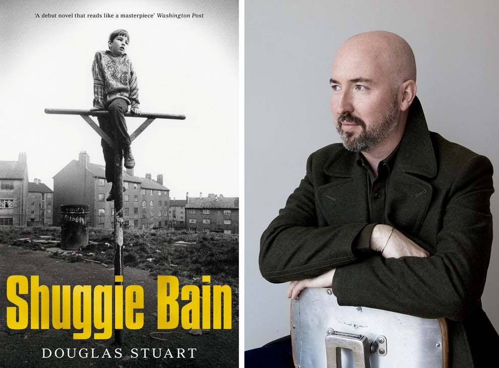 Book cover of Shuggie Bain and author Douglas Stuart sitting on a chair