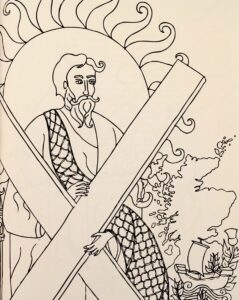 Pen drawing of St Andrew and saltire cross with Scotland in background